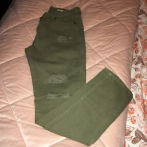 Distressed Gap jeans (olive green)